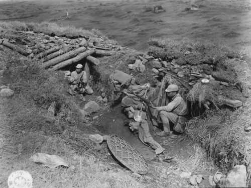 Chinese troops hold a Japanese pillbox captured on Laifengshan.
