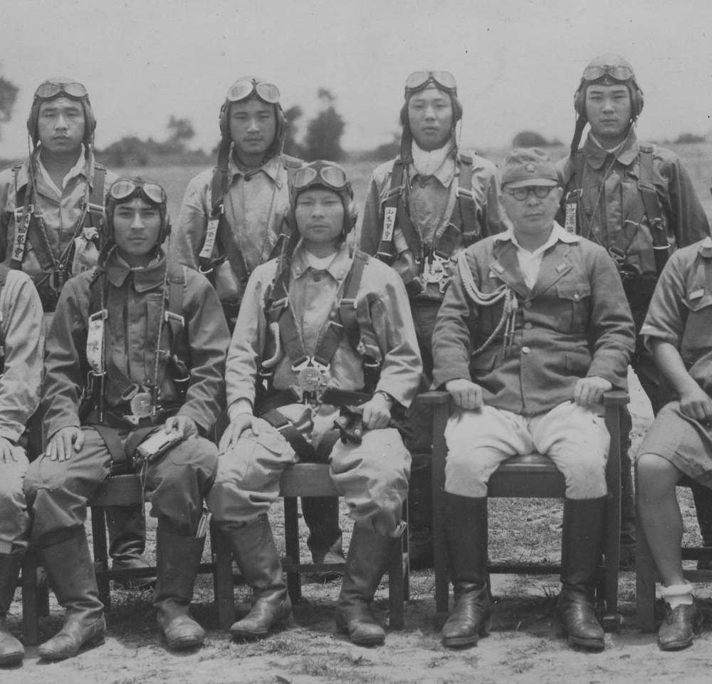 Fighter pilots of the 64th Sentai selected to carry out the attack on the Huitong Bridge. In the front row, from left to right, are Captain Nakamura, Major Toyoki Eto, the sentai commander, and Colonel Kuwazuka. In the back are Sergeant Okada, Corporal Yamazaki, Sergeant Yamamoto, and Sergeant Ikezawa. Courtesy of Hiroshi Ichimura.