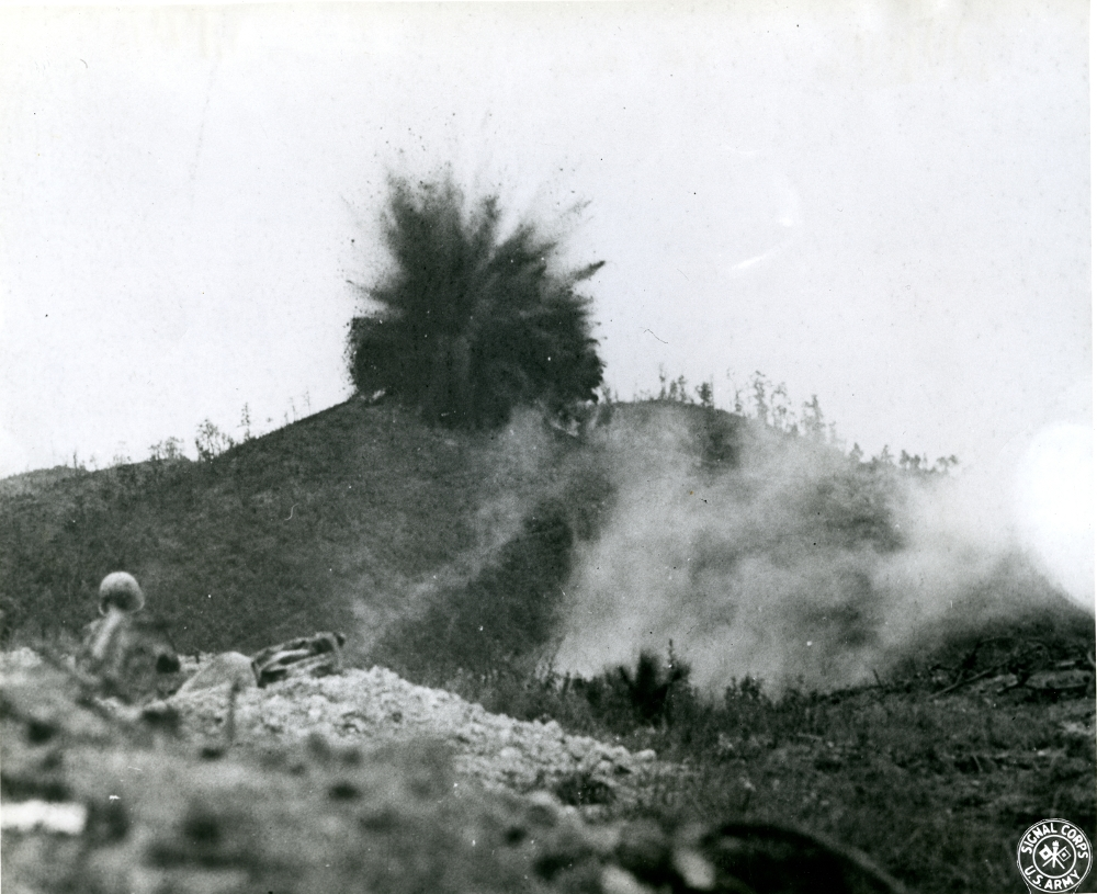American engineers detonate the mines under Japanese positions on Songshan. Hoover Institute.